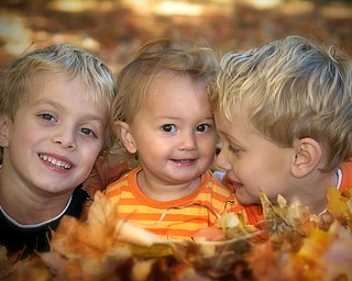 Here is a shot of our three kids Nicholas (6), Hannah (16 mos), and Alex (3)LaPlante of Poland taken by their dad (John) while raking leaves a few weeksago.   Although they get into an occasional argument as any siblings do,these three love being together.