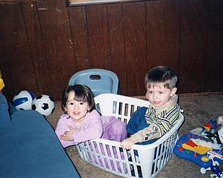 Madison Svirbly and Luke Thomas, both 3, have some fun at Grandma Pat's. Photo sent by Patricia Hrusovski of Youngstown.
