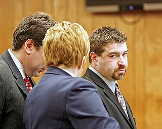Steve Croley pleads to animal cruelty and other charges at Youngstown Municipal Court - with him is prosecutor Jay Macejko and his attorney Heidi Hanni.