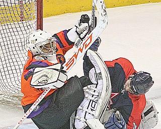 Mahoning Valley Phantoms goalie Jordan Tibbett defends a shot