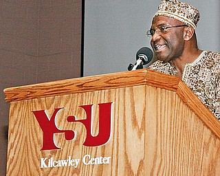 """Dr. Victor Wan-Tatah, director of Africana Studies at YSU, explained that Jabali means """"the rock"""" in Swahili to a group of more than 100 that gathered Friday night for the celebration filled with music, dance, food and recognition o the accomplishments of individuals of African descent."""