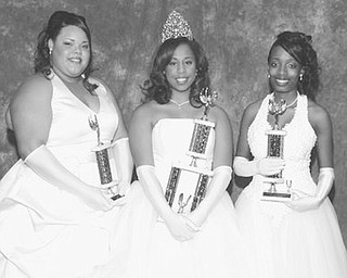 <p>Special to The Vindicator</p> <p>CROWNING MOMENT: Proudly displaying the trophies they received at the annual Cinderella Ball are three young women who were among the 16 debutantes vying for the title of Miss Cinderella 2008. They are, from left, Brianah Lourrae' Lewis, second runner-up; Mackenzie Blackmon, who was named Miss Cinderella 2008; and Eve Danielle Griffin, first runner-up.</p>