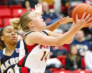 YSU's Kelsey Garganus tries to get around  Jolene Tamboue of Akron during Saturday game.