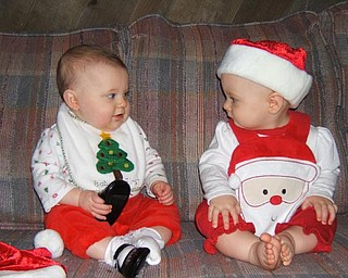 lst Grandchildren of Al & Diane Barnett, Austintown enjoying their first Christmas:   Savannah Marie Cervone (left) and Olyvia Rose Barnett (right)