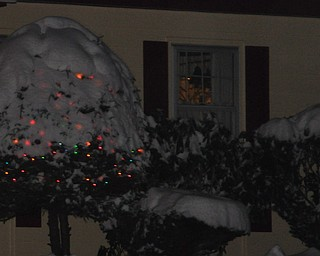 Christmas lights glow beneath a coat of snow in Youngstown