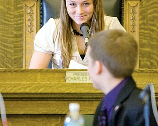 Council President Chelsea Moherman, age 17 of Lordstown, calls for order after Mayor Evan Beil, age 17 of Boardman, speaks out of turn during a mock city council meeting at the Youngstown City Council Chambers on Wednesday. High school juniors from thirty local schools participated in the event coordinated by the Youth Leadership Mahoning Valley program.