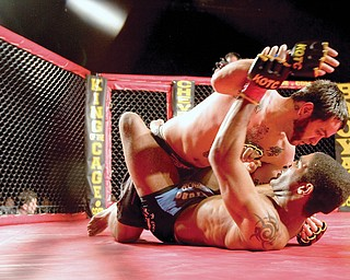 Mike Cardona fights Chris Curtis during one bout at King of the Cage at the Chevy Centre Saturday evening.