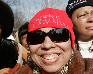 Kittie Monroe of Youngstown sports an Obama hat during inaugural activities.