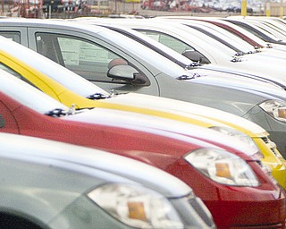 Cars Stack up at the Lordstown Ohio plant as the third shift gets canceled