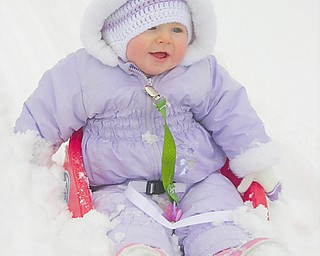 Madeleine Devlin, 10 months, daughter of Karl and Lisa Devlin of Austintown, gets her first taste of snow this year.