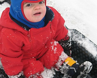 James Geoge Lipjanic, 18 months, on his first sled ride in 2009.