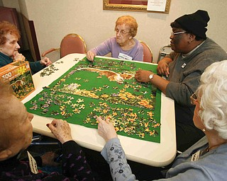 from the bottom - Cathryn Cochran - Barb Jenkins -( far left)  Stella Brinko - Judy Hollis ( hat)  and Sophia Bush as they work away on a puzzle at Beeghly Oaks in Boardman- robertkyosay