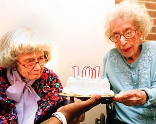 Ruth Kyle and Clara Schafer celebrate 101 year birthday at Park Vista