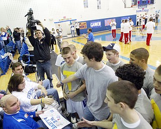 """Poland freshman basketball player Mitch Dinoupolos who is undergoing chemotherapy and radiation was honored during """" Mitch Night"""" at the Feb. 13, 2009 Poland vs Beaver Local basketball game."""