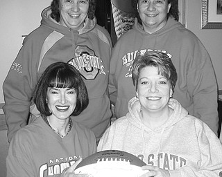 """<p>Special to The Vindicator</p> <p>TEAMWORK: With the support of other members of Yo-Mah-O Chapter of IAAP, area businesses and individuals, from left in front, Laura Malloy and Christine Simone, chairwomen, and in back, Joyce Laska and Nancy Brunner, chapter members, are confident the """"Big Ten"""" reverse raffle fundraising dinner on March 1 will be a success.</p>"""