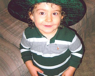 READY AND WAITING: 21-month-old Carson Arfaras, son of John and Lori Arfaras of Canfield, is ready for St. Patrick's Day.