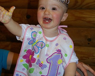 ASHLYNN MASON is all smiles on her first birthday. The photo was taken by her dad, Matthew Mason, at her birthday party in Boardman Township Park.