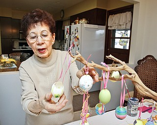 Marie Dippolito of Warren shows her egg tree in her home.
