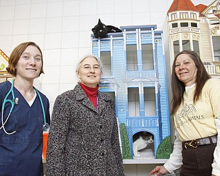 The Vindicator/Lisa-Ann Ishihara ANIMAL ATTRACTION: All smiles as they prepare for a big fundraiser, the Angels for Animals Garage Sale, are, left to right, Meegan Ambrose, DVM, Marlene Braunlich, general manager, and Diane Less, founder and board member. They are standing in Cat Room No. 1 with some of their friends at the shelter, Route 165 in Canfield.