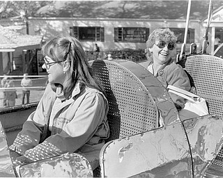 Daughter and mother from Alliance, OH in the Rocket Ship car Oct. 20, 1984