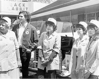 Red Cross personnel were on hand to serve refreshments to the firefighters and the workers. L-R Etherl Strange; Bob Lewis; Gladys Montanez; Rose DeMuccio; Bev Suhar. Apr. 26, 1984