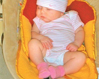 KYLIE MARIE CAIN of Canfield is 9 weeks old in this picture, which was taken by her grandma, Kathy Cain of Canfield.