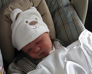 COLTEN THOMAS MCCUTCHEON of Campbell was only 2 days old in this picture as he was leaving Northside Medical Center.