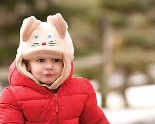 ALEX LAPLANTE wears his bunny hat while enjoying some late-season sleddingat the Poland Presbyterian Church.