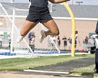 """Howland Kaylee Redon places first with 15' 1"""" in the Girls Long Jump at Poland High School"""