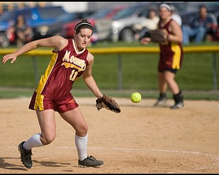 5.14.2009 Cardinal Mooney's Cadi Sheffler (11) goes after a bobbled ball during the top of the sixth inning at Boardman's Field of Dreams on Thursday evening. Geoffrey Hauschild