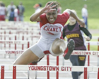 """Chaney""""s Shatasia Walker wins a semi final in the 100 Thursday at Chaney."""