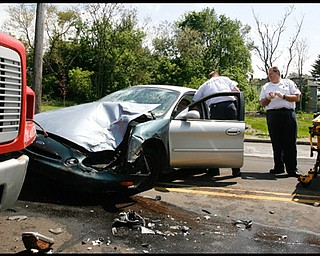 CAR-TRUCK CRASH: A car went left of center and struck a truck almost head-on at Oak Street and North Lane Avenue in Youngstown. The driver of the car was taken to St. Elizabeth Health Center on Thursday afternoon by Rural Metro Ambulance, and the driver of the truck suffered a laceration on his hand.