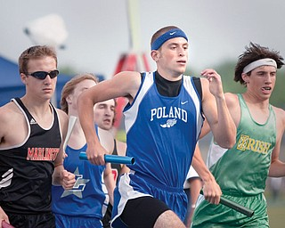 Mike Kurjan, of Poland, participates in the 4x800 relay at Ravenna Stadium on Thursday afternoon.