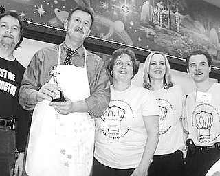 Special to The Vindicator <p>GOOD COOKS: Catholic Charities Regional Agency's 2009 Men Who Cook competition took place recently at Our Lady of Mount Carmel Hall to raise money for the Emergency Assistance Program. Above are winners of the Judges' Choice Award, from left, Dr. John Venglarcik, medical director of the Mahoning County Board of Health, and Matt Stefanak, Mahoning County Health commissioner, along with Nancy Voitus, executive director of CCRA, and Dr. Cindy Kravec and Dr. Jim Kravec, co-chairs of the event. Below are the People's Choice winners, Dr. Steve Swain, and Dr. Patrick Skarote, center, flanked by the Kravecs.</p>