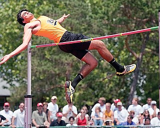 Crestview's Jakob Leon wins the boys Division III High Jump competition by clearing a height of 6'10'' at Jesse Owens Memorial Stadium in Columbus on Friday afternoon.
