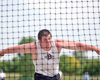 Boardman's Corey Linsley competes in the discus event at Jesse Owens Memorial Stadium on Saturday afternoon.