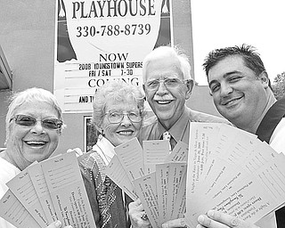<p>The Vindicator/William D. Lewis</p> <p>JUST THE TICKET: Encouraging patrons to purchase tickets and join in the fun at the casino-style fundraiser on June 20 at Youngstown Playhouse are, from left, Joanne Barry and Sis Soller, committee members; Rand Becker, Playhouse board president; and Dr. John Cox, fundraiser chairperson.</p>