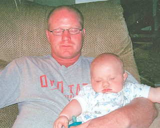 Steve Sample, 35, and Maxwell, 14 months, of Hubbard.