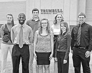 MEMORIAL: The recipients of the Robert L. Stauter Memorial Scholarship (front row, left to right) are Anthony C. Nwankwo of Youngstown, Shelby A. Nelson of North Bloomfield, Amy L. Seagraves of Warren, and (back row) Ashley M. Yassall of Brookfield, Daniel J. Anderson of Salem, Emily Mrvos of Hartstown, Pa., and Michael J. Finch of Cortland. Not pictured is Lauren M. Devereaux of Fonda, Iowa.