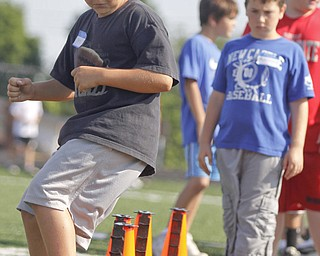 Danny Lowther (10) of Brunswick participates in an exercise to test his agility during Cardinal Mooney Camp of Champions at the football field, Monday June 29, 2009Lisa-Ann Ishihara