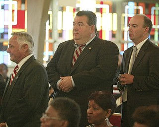 Among those paying last respects to Edna Pincham berfore Wednesday funeral services at Thrird Baptist Church in Youngstown were Mahoning County Commissioners David Ludt, Anthony Traficanti and John McNally IV.
