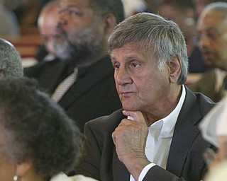 Former Youngstown Mayor Pat Ungaro attends the funeral  for Edna Pincham Wednesday at Third Baptist Church in Youngstown.