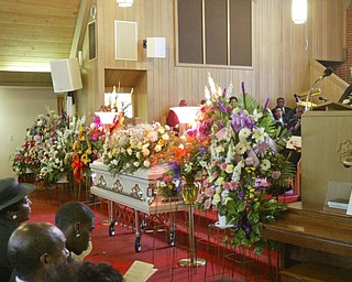 Youngstown School Superintendent Dr. Wendy Webb speaks during funeral of Edna Pincham Wednesday at Third Baptist Church in Youngstown.