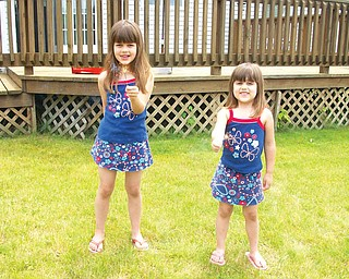 Mia Marciano, 6, and her younger sister, Emma, 3, of Austintown, enjoy their sparklers on the Fourth of July.
