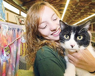 Breanna Naylor, 14, of Mecca holds her cat, Oreo, during 4-H Junior Fair cat judging at the Trumbull County Fair Thursday. Her 17-pound cat is 6 years old.