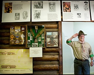 7.16.2009 Bill Moss, dressed as Robert Baden-Powell, the founder of the Boy Scouts, poses for a portrait in his museum of Boy Scout memorabilia that was recently completed at Camp Stambaugh. Geoffrey Hauschild