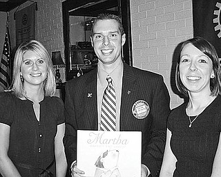 Special to The Vindicator INFORMATIVE: Austintown Rotary Club was briefed on a Passport to Prizes fundraiser during its noon meeting July 13 at the Saxon Club. Shown with Rotary President Brian Laraway are, from left, Shanna Glenellen and Kelly Kiraly, members of the Junior League of Youngstown, which is sponsoring the fundraiser. Proceeds from the event will be used to support key community projects sponsored by the league. Tickets for the Passport to Prizes raffle are $10. Prizes include $1,500 cash, a Golfland gift package valued at $1,000, and a Sportsburg gift package worth more than $1,000. The winning tickets will be drawn Oct. 10.