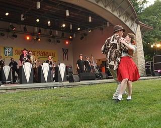 Duane and Lisa Pitzer dance to Big Bad Voodoo Daddy.