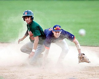 Rondinelli Tuxedo's Adam Shrodek turns to see his teamate, Kyle Vaclav, arrive safely at first despite being forced out at second by Ohio Hurricane's Rob Purdy during the sixth inning at Cene Field on Monday evening.