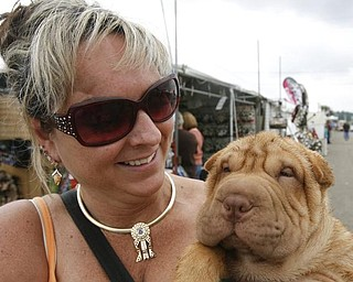 TOO CUTE - a 13 Week old puppy gets an eyeful of the dog show thanks to his owner Denise Beagle ( yes her last name is Beagle)  as she prepares him for future shows ( he is too young for this show)  Denise has had 4 Best of Breed Shar Pei's . she is from Michigan - -as the four day Steel Valley Cluster Dog Show at the Canfield Fairgrounds runs through Sunday - robertkyosay
